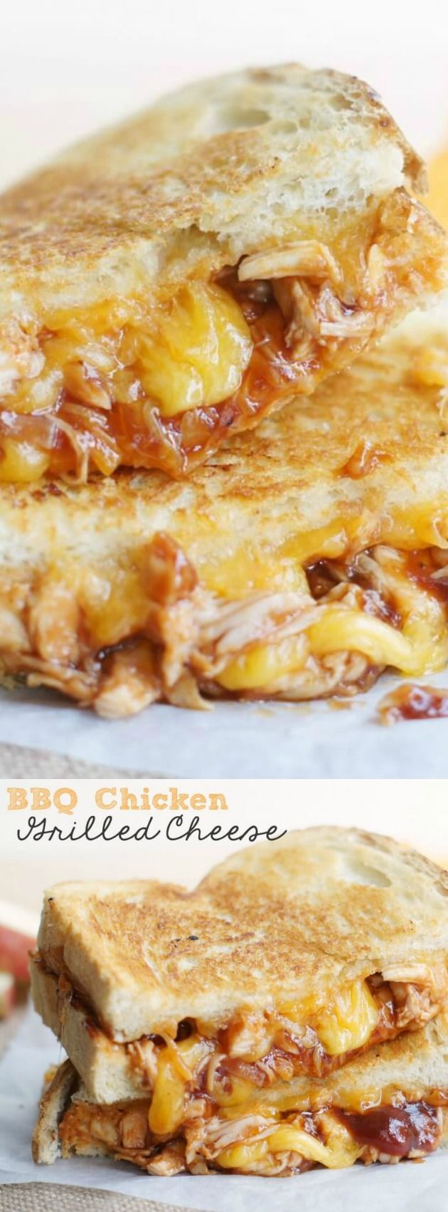 These BBQ Chicken Grilled Cheese Sandwiches from 5 Boys Baker are so simple to make, comforting, and crazy delicious! They make the perfect weeknight dinner when you don't have a ton of time to cook and still want to serve up something hot, melty, and delicious.