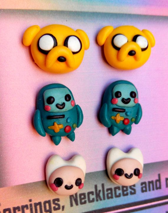 Earrings from the animation tv show Adventure Time. You can purchase Finn the Human, Jake the dog and Beemo. If you want one pair made-up with different characters, just choose the mixed pair option and specify wich characters do you want.  If you want some pairs of earrings just chose the 2 pairs or 3 pairs option and specify wich characters do you want. In case these different pairs are composed by different characters (mixed pairs) specify it too please.  Please, dont force the polymer…