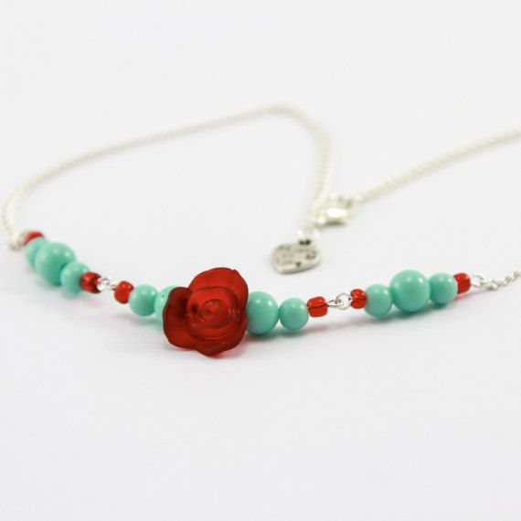 Rockabilly Kitsch Rose and Turquoise Necklace with by KitschBride