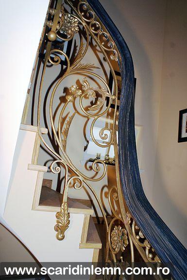 Mana curenta lemn curbat la scara interioara din lemn masiv, balustrada din lemn