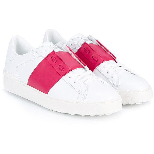 Valentino Leather Open Low-Top Trainers (4,540 CNY) ❤ liked on Polyvore featuring shoes, sneakers, lace up shoes, round cap, valentino shoes, low top and leather lace up sneakers