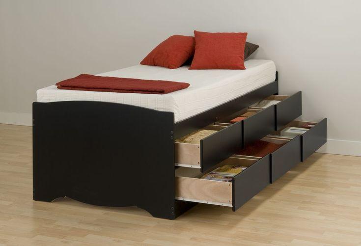 Prepac Black Tall Twin 6-Drawer Platform Storage Bed