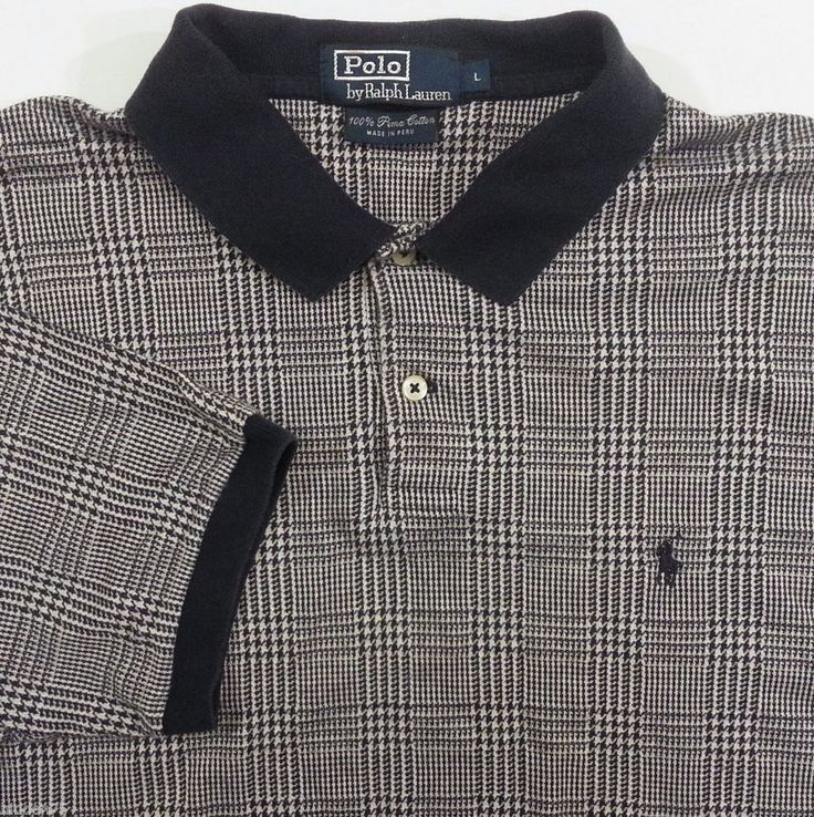 Polo Ralph Lauren Polo Shirt Large Mens Blue Check 100% Pima Cotton #PoloRalphLauren #PoloRugby #ArtieBobs #MensFashion
