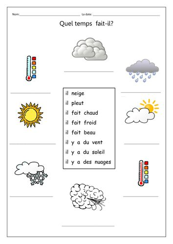 Weather phrases to match and write out under pictures.