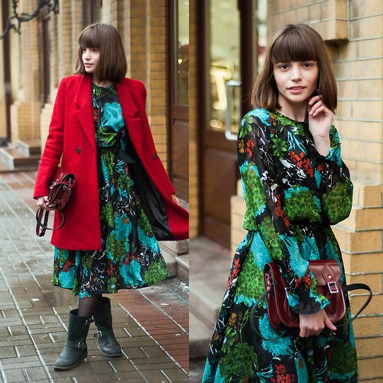 Get this look: http://lb.nu/look/8556979  More looks by Kristina&Karina Vartanovy: http://lb.nu/animalarithmetic  Items in this look:  Zara Red Wool Coat, The Leather Satchel Company Patent Oxblood Satchel, Sammy Dress Long Sleeve Flower Printed Smock Dress, Poustovit For Braska Black Leather Boots   #artistic #bohemian #romantic #animalarithmeticblog #fashionblog #blogger #ootd #outfit