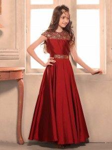 Maroon silk gown