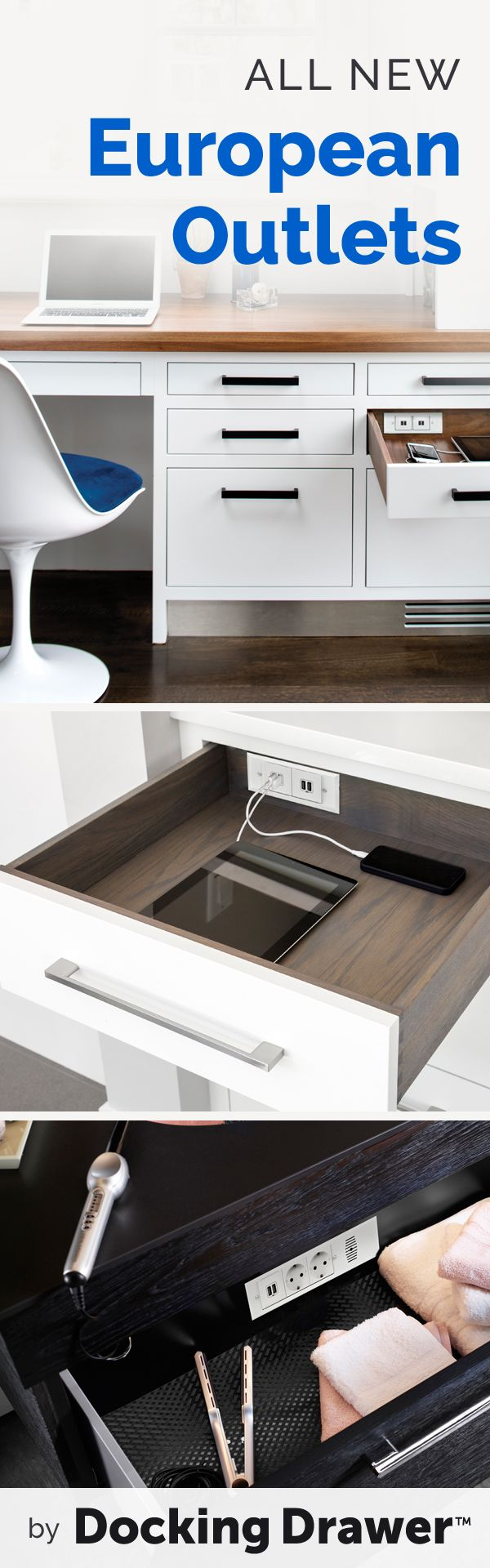 Stay organized while charging and powering everyday devices with Docking Drawer's hidden electrical solutions.