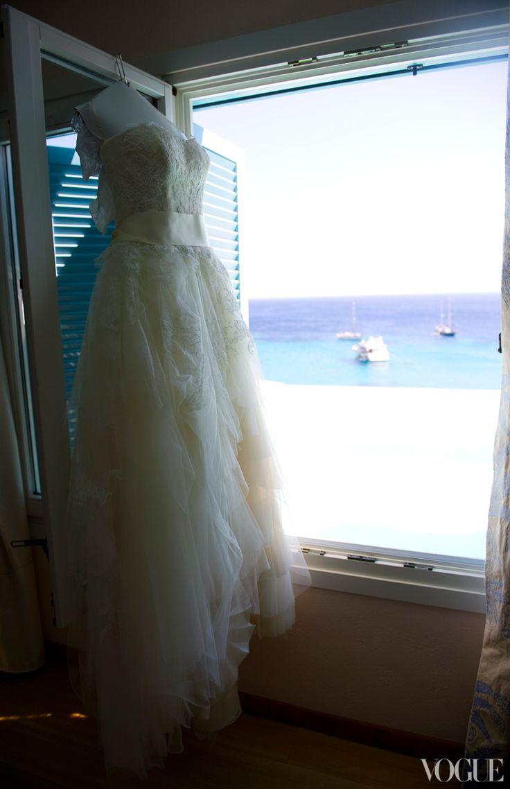Vogue's Phoebe Papadopoulos's Wedding in Mykonos | The bride's Vera Wang wedding dress.