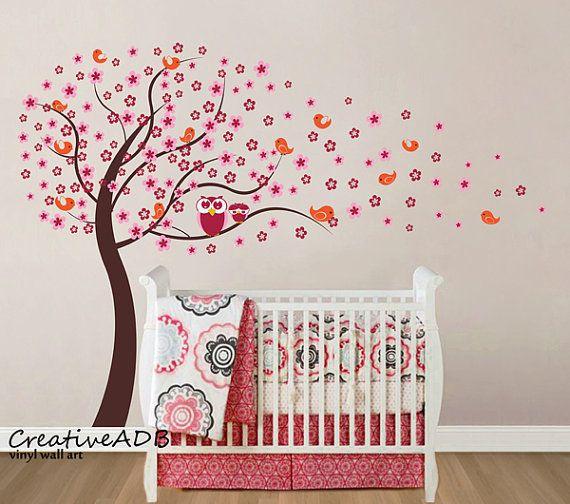 BIG SIZE Kids vinyl wall sticker  tree with flowers by creativeadb