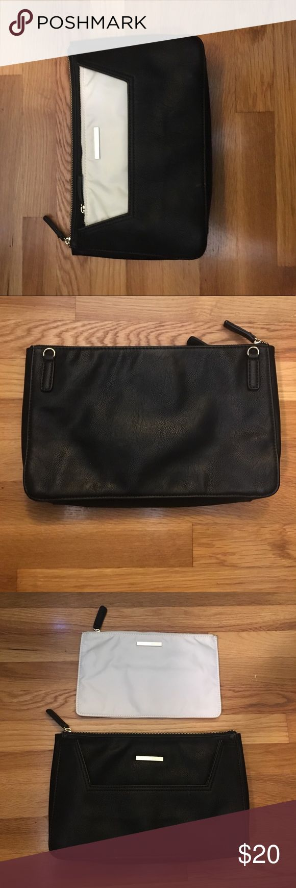 Kenneth Cole large clutch GUC some wear on edges shown in picture but had so much life left! Comes with white insert for more storage. Does not come with shoulder strap! (Can't find it!!) but is great for a night out!! Measurements in photos!! Kenneth Cole Reaction Bags Clutches & Wristlets
