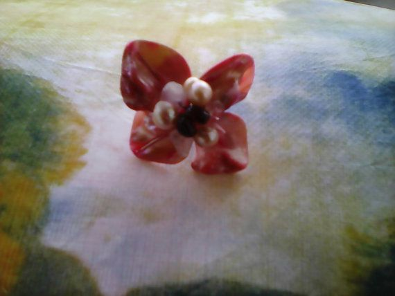 Flower mother of pearls ring/handmade pearl agate by Mpoulitsa