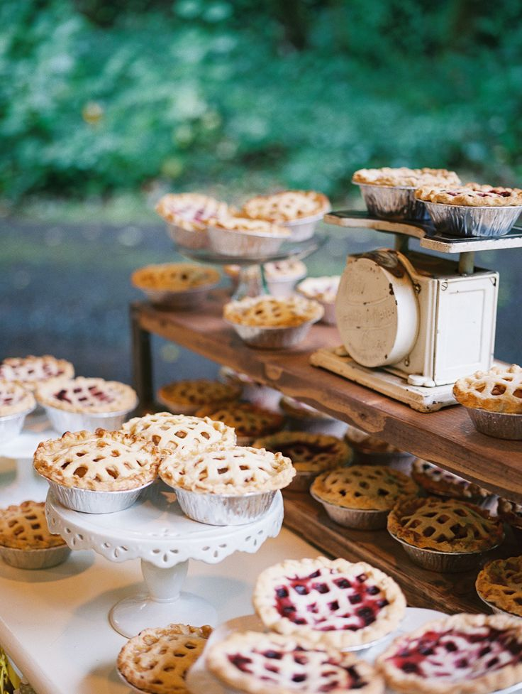 Pies + #DIY Weddings go hand in hand! See the wedding on Style Me Pretty here: http://www.stylemepretty.com/2013/12/30/diy-oregon-wedding-at-camp-lane/  Laura Nelson Photography