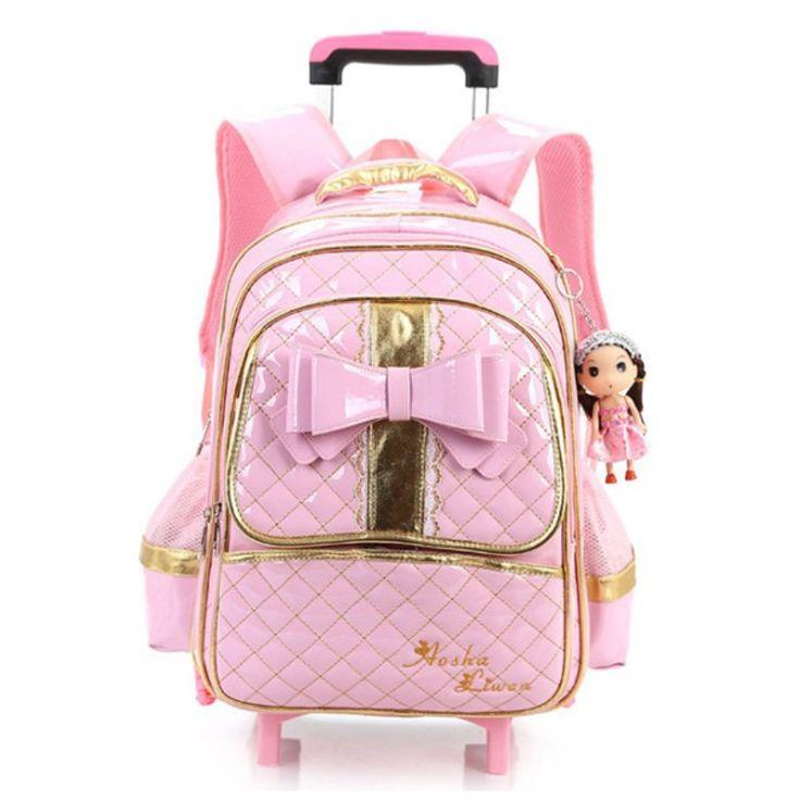 Girl's Flashing Wheels School Bag Bow Girls Backpack Trolley Bag Travel Bags Girls School Bags(Pink). School Backpacks.