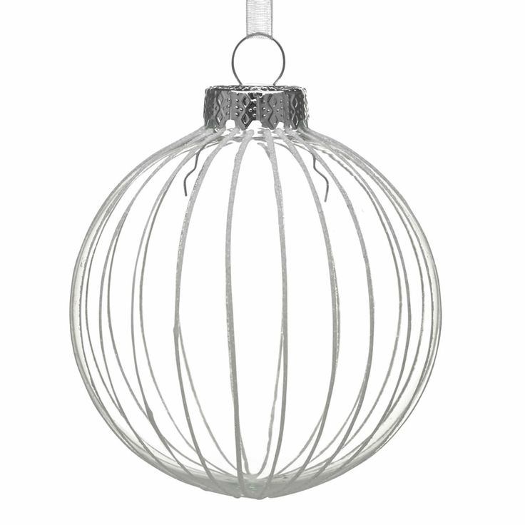 Wilko Berry Stripe Bauble Christmas Tree Decoration Glass Clear/White at wilko.com