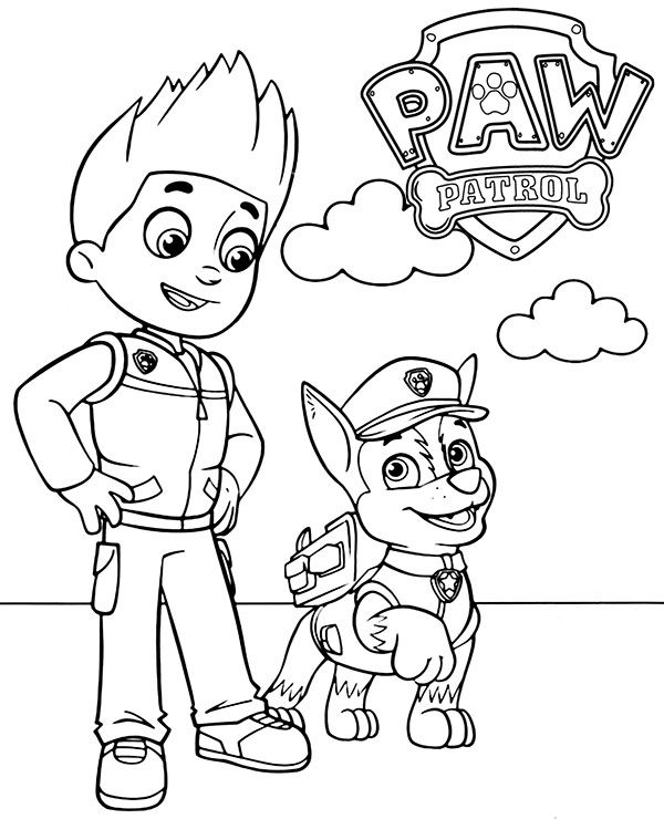 Ryder And Chase To Color Paw Patrol New Coloring Page Paw Patrol Coloring Pages Paw Patrol Coloring Paw Patrol