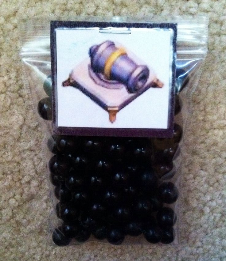 Clash of Clans party favor; Cannon-chocolate balls