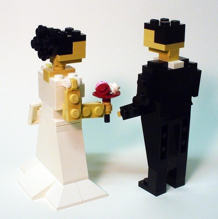 Custom LEGO Bride and Groom Wedding Cake Topper