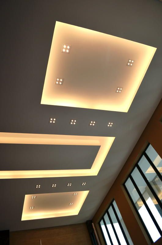 Overall view of modern ceiling design in Living Hall with Samsung LED spot lights and cove lighting effects