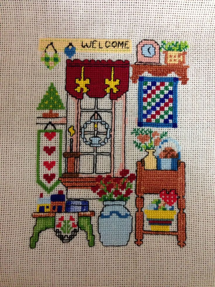 Etamin pano cross stitch welcome