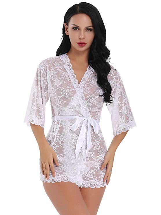 6de90e427 Womens Sexy Lace Kimono Robe Lingerie Set Mesh Babydoll Sheer Nightgown  (Navy Blue