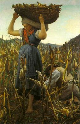 Farmers to harvest corn - Achilles Glisenti (1848-1906)