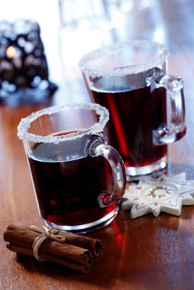 1 bottle of dry red wine  1 cup (110 grams) granulated sugar  1 cinnamon stick  2 whole cloves  1 lemon or orange peel  1-2 tablespoons of rum, brandy, amaretto, or other liqueur if desired    Steep for 1 hr over low heat.