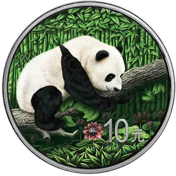 China 2016 10 Yuan Chinese Panda Ounce Space 30g BU Silver Coin Nantan Meteorite