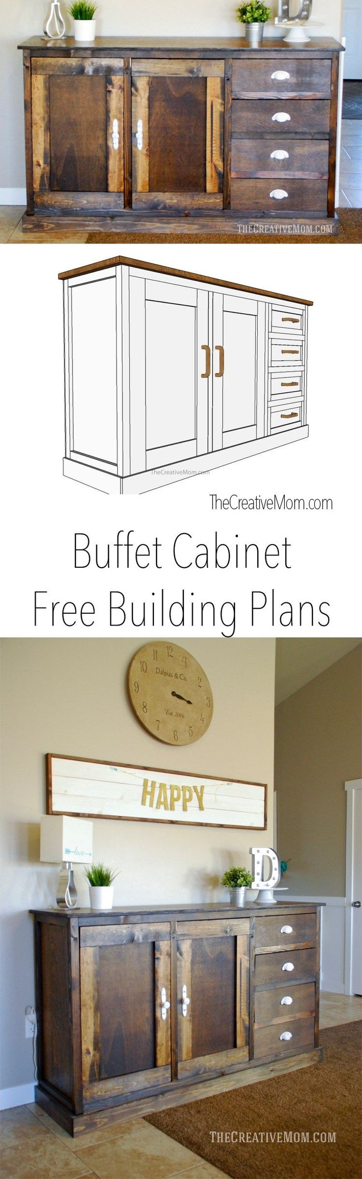 In addition long buffet cabi on 2015 dining room furniture styles - Diy Buffet Cabinet Free Building Plans Via The Creative Mom