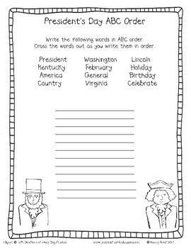 President's Day ABC Order FREEBIE