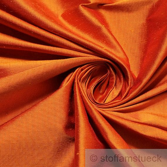 GORGEOUS!! fabric natural silk plain orange Shantung by stoffamstueck on Etsy