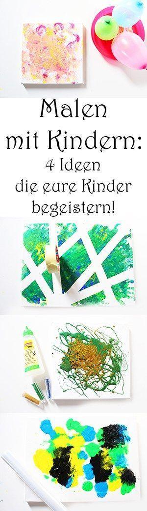 4 Ideen zum Malen mit Kindern auf Leinwand +Video