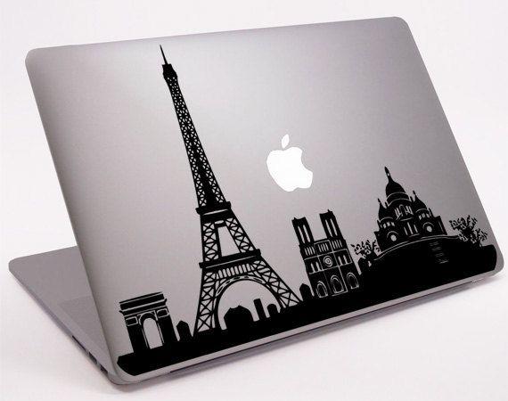 """Paris Skyline pour ordinateur portable Macbook ordinateur portable Macbook Decal 11 """"13"""" 15 """"17"""" (DM-0135) sur Etsy, $6.76"""