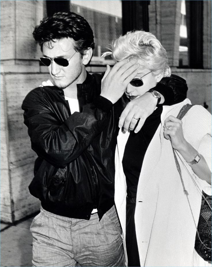 A young Sean Penn and Madonna sport their Ray-Ban aviator sunglasses.