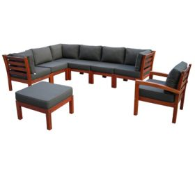 OUTDOOR FURNITURE  Kwila timber outdoor couch modular setting.