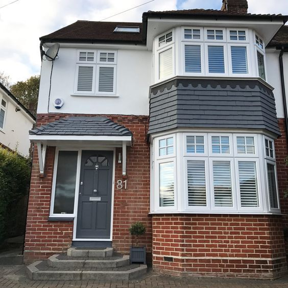 Exterior 1930 39 S Semi Detached Home Before And After Transformation Painted Hanging Tiles Using