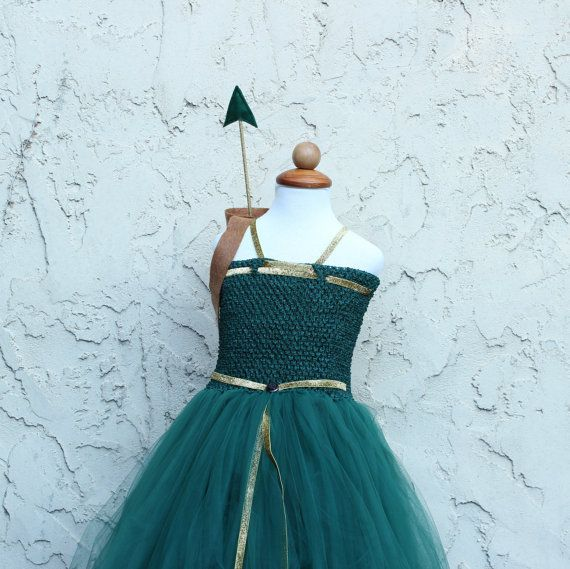 Brave Princess Merida/Zarina Pirate fairy costume for your little girl. In emerald green and golden colors. Comes with a free Arrow holder and an