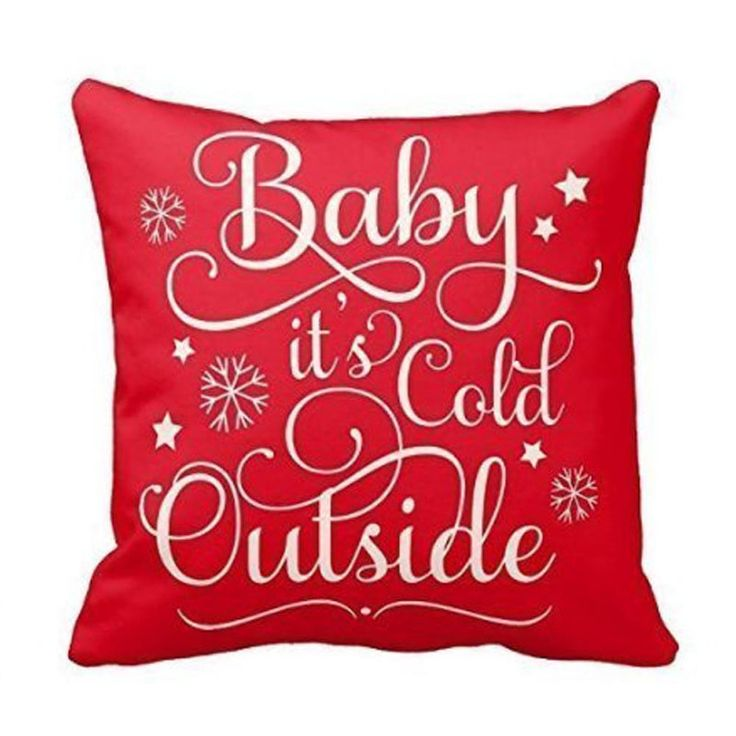 Baby It's Cold Outside - Red Cushion Cover
