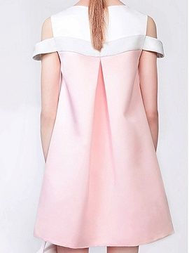 Shop Pink Contrast Cold Shoulder Swing Dress from choies.com .Free shipping Worldwide.$12.9