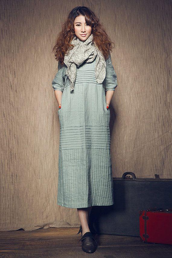Maxi Linen Dress in Aqua / long linen shirt dress by camelliatune