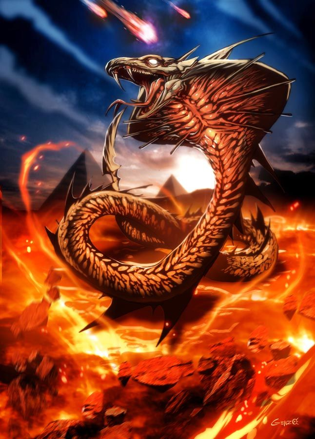 Apophis (Apep) - Egpytian God and first manifestion of Chaos. Taking the form of the snake it is destined for Apophis to defeat Ra, swallow the sun and plunge the world into eternal darkness. Sacred Animal, Serpent.