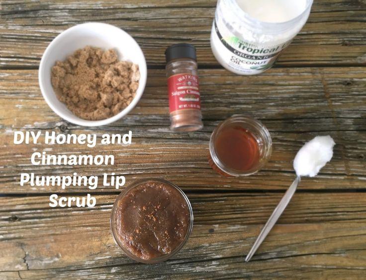DIY Honey and Cinnamon Plumping Lip Scrub, naturally plumping the lips with the cinnamon, and honey to nourish and moisturize.