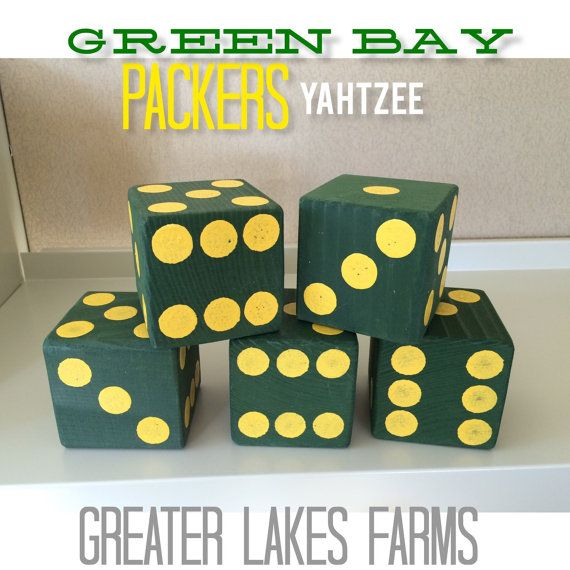 Packers Giant Yard Yahtzee- Sanded and Painted (wedding games, yahtzee, yard games, outdoor games)