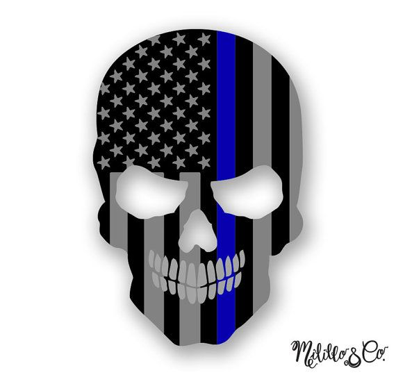 Thin Blue Line Police Flag Skull Car Decal Sticker by MililloAndCo