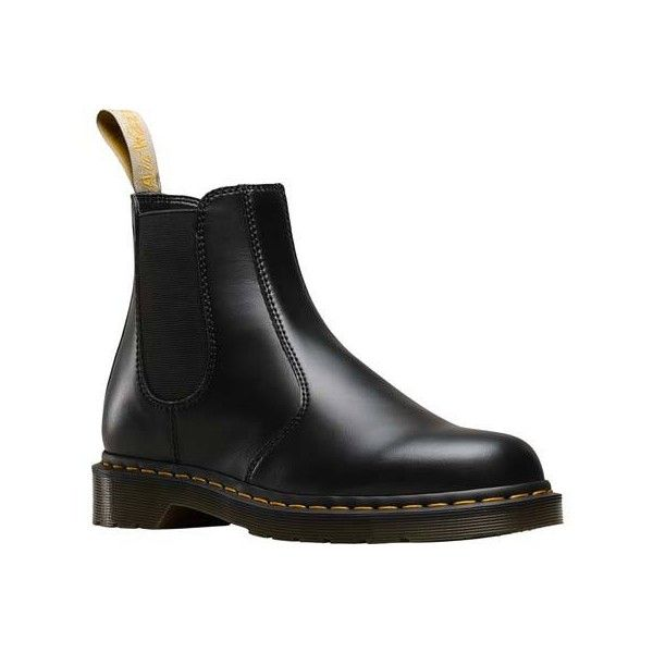 Men's Dr. Martens Vegan 2976 Chelsea Boot - Black Felix Rub Off Ankle... ($145) ❤ liked on Polyvore featuring men's fashion, men's shoes, men's boots, black, dr martens mens boots, mens short boots, mens boots, mens chelsea boots and vegan mens shoes