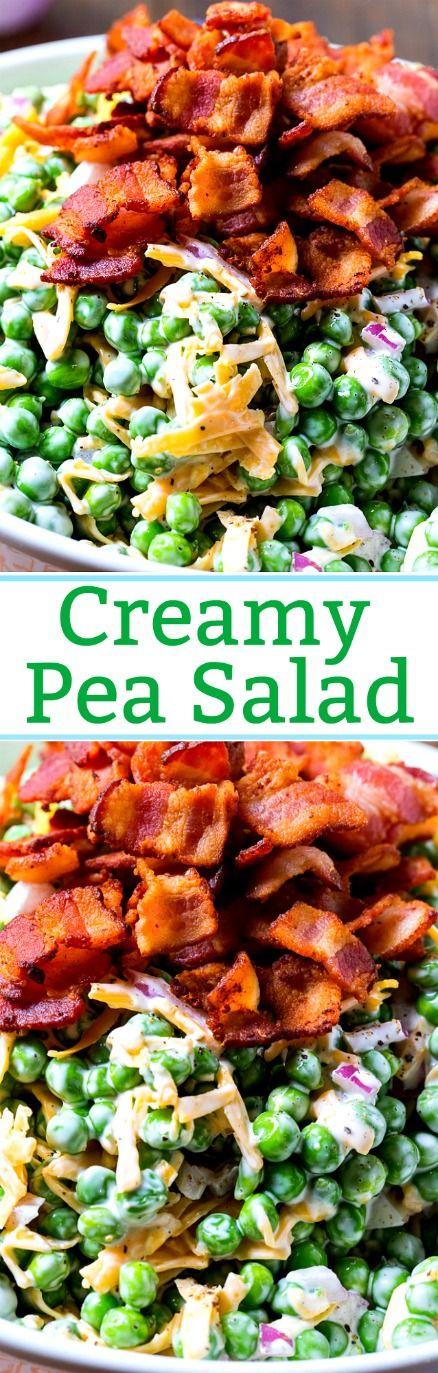 Creamy Pea Salad is a potluck favorite.