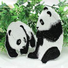 Комплект из 8 шт. милый большой панда аппликации 120 * 125 мм вышитые патчи железа - на мотив патчи, Машинная вышивка аппликация дизайн(China (Mainland))