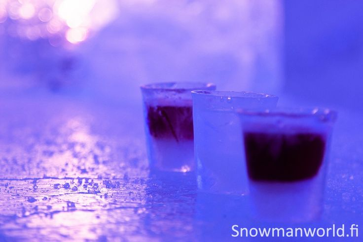 Snowman World Ice bar with Ice glasses in Santa Claus Village in Rovaniemi in Lapland