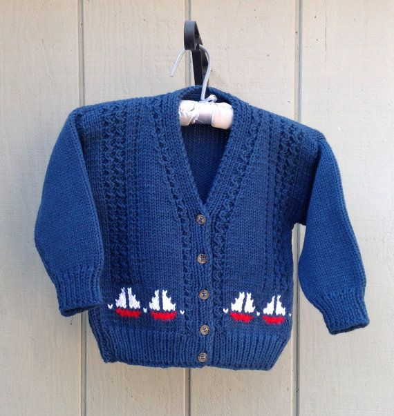Knitting Patterns Baby Motifs : Boys knit cardigan with sail boat motifs, Kids navy ...