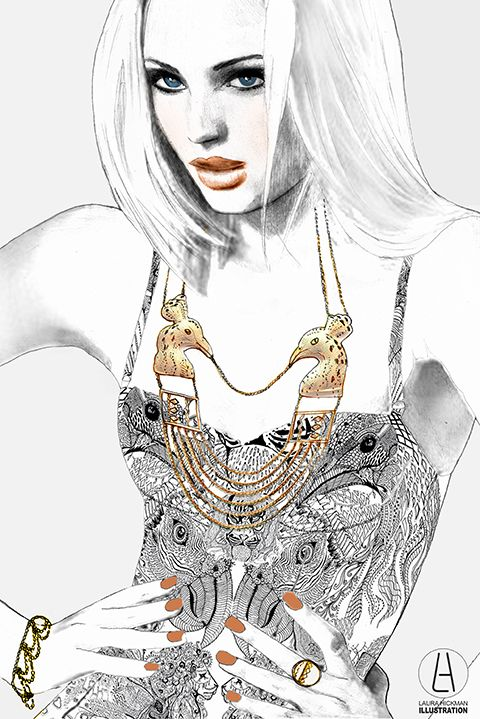 Annabelle Lucilla by Laura Hickman. An absolutely stunning fashion illustration featuring her gold statement peacock necklace.