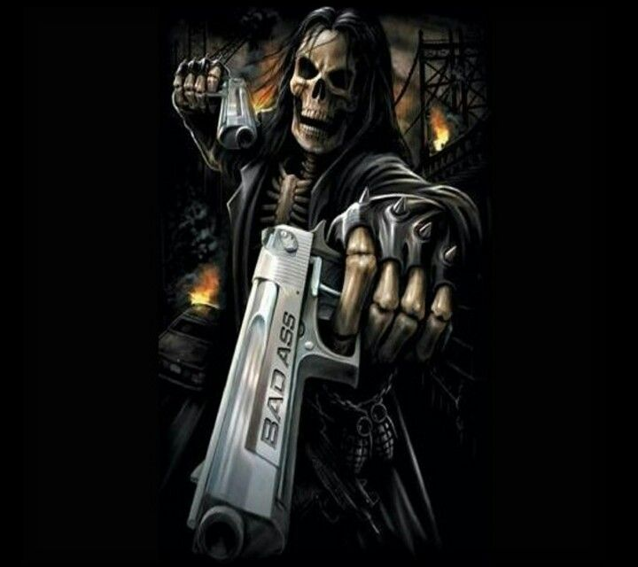 Ha Badass SkullsGrim ReaperSkull WallpaperGunFantasy ArtMobile